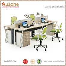 Modern office partition with wire trunking system and mobile pedestals 3 drawers