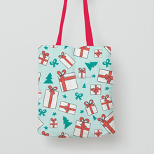 New Launched Products Customized Printing Cotton Tote Bag For Christmas