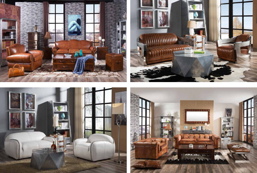 2016 new design vintage red ox leather living room sofa set - Distressed Living Room 2016