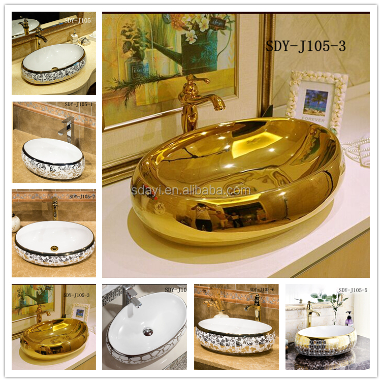 ceramic bathroom luxury golden color painted gold sink