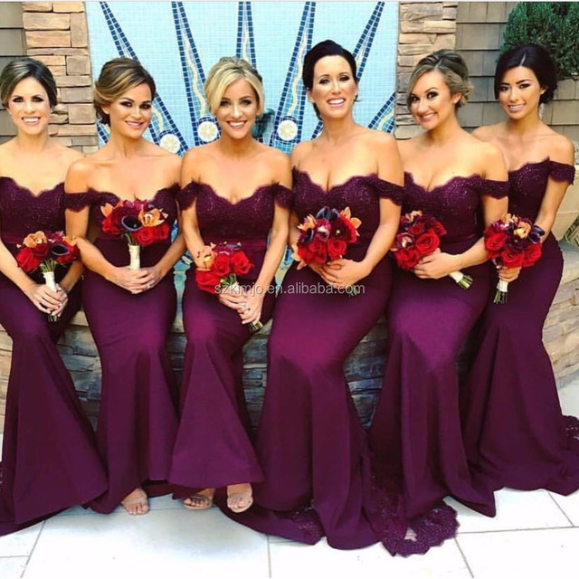 Off Shoulder Bridesmaid Dresses Long 2017 Lace Applique Beaded Mermaid Wedding Guest Dresses