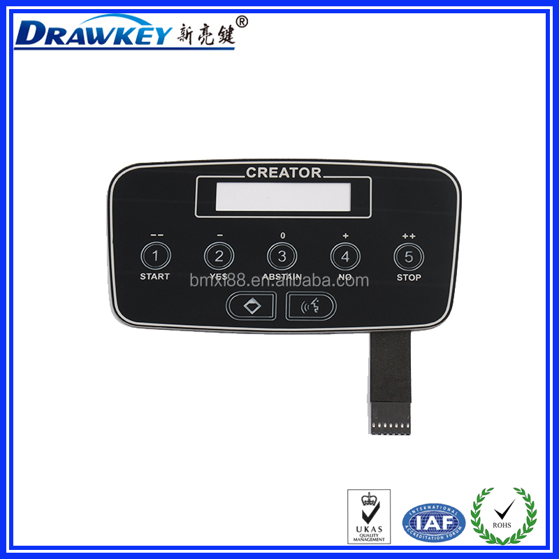 China supplier PET/PC/PVC Tactile Membrane Switch for Digital Conference System Equipment