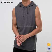 OEM service mens super longline sleeveless t shirt with hood