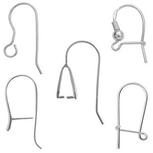 Sterling silver hooks ear wires for jewelry making, silver components gold plated 925