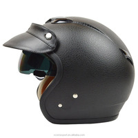 Painting Leather style motorcycle helmet half face vintage retro helmet with inner sun visor