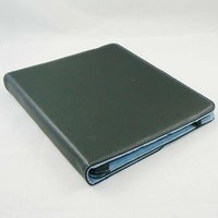 Open Face Style Leather Pouch Case Skin Cover with White Line for iPad 2 (Black)