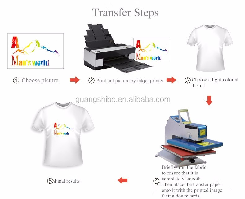 High Quality A4 Light Color T-shirt Heat Transfer Printing Paper