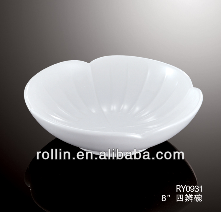 "2014 new elegant design 8"" four petal shallow bowl, flower shape ceramic bowl"