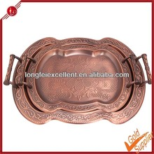 2pcs antique copper kitchen stainless steel food serving tray plate with steel handle