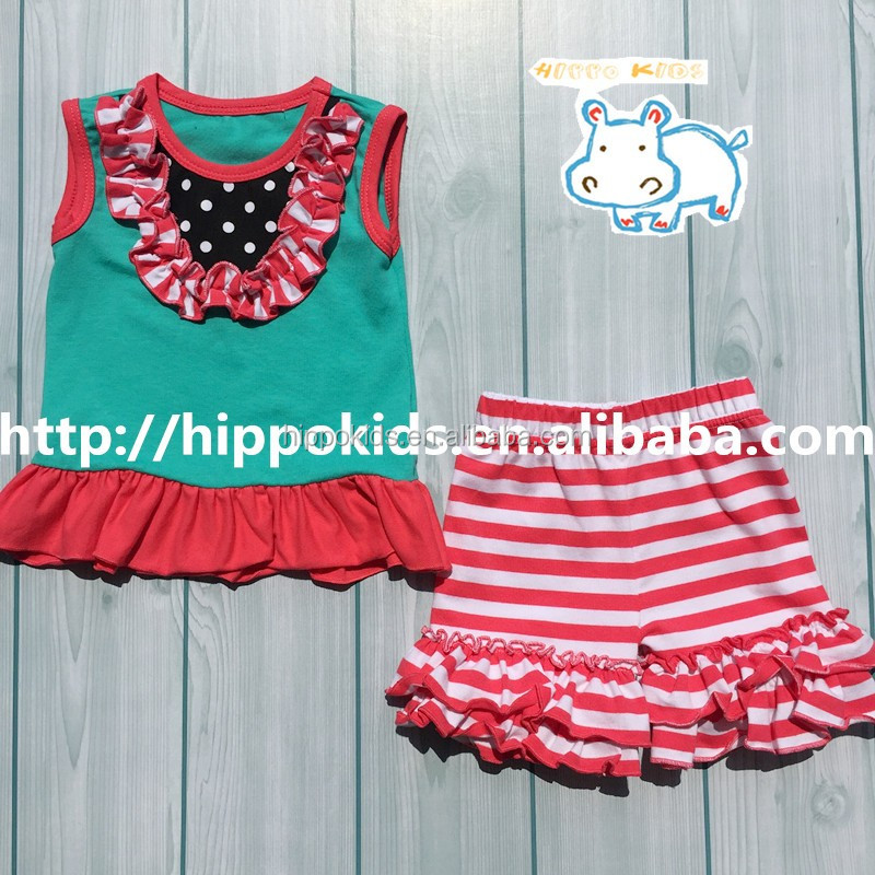 2016 New design children summer clothing set tank top and striped shorts suit girls ruffle boutique clothes