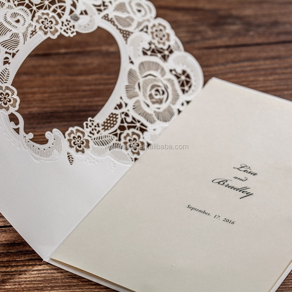 Cream white invitation card wedding & birthday greeting paper crafts cw5185