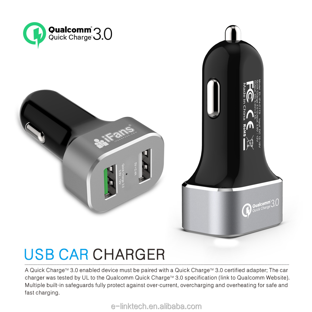 iFans dual Qualcomm Quick charge 3.0 output car charger with smart controller IC for iphone & Samsung Series in Aluminium Alloy