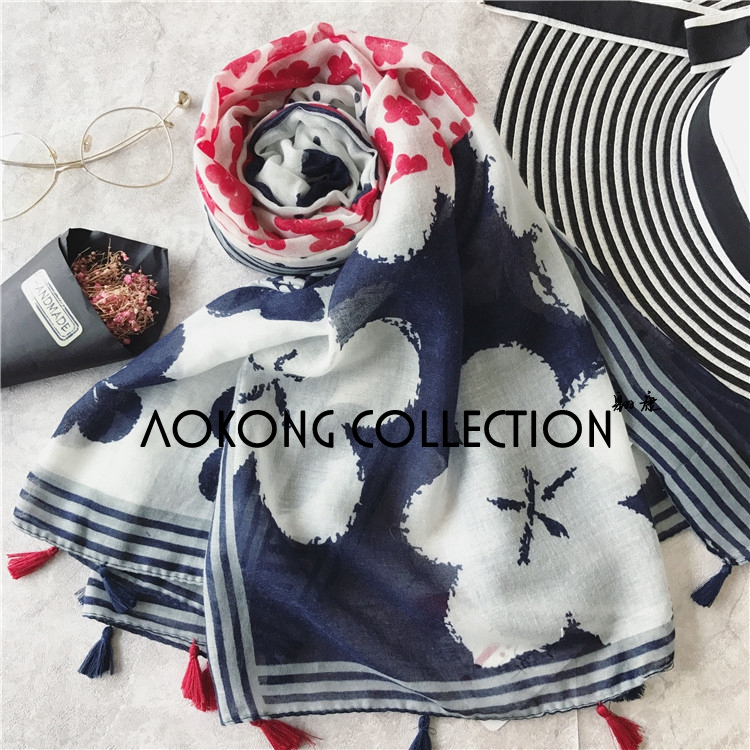 Women big floral navy and red color tassel scarf