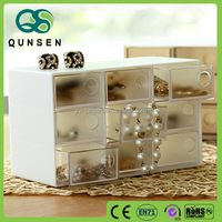QS brand New design eco-friendly custom printed clear plastic drawer hard plastic storage box