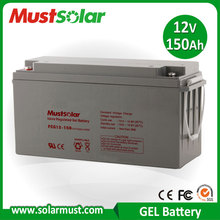 12V 150AH Solar energy and wind turbine system Gel Sealed Lead Acid Battery Made in China Manufacturer