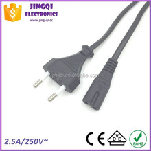 Euro 2 pin Power Cord to IEC 60320 C7 connector (2.5A/250V)