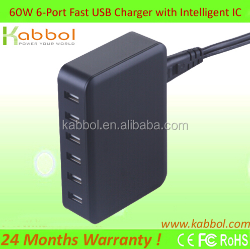 Quick Charge 2.0 60W 6-Ports USB Charger for Samsung Galaxy Note 5,Google Nexus 6, Motorola Droid Turbo