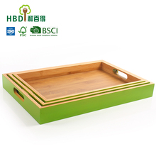 High quality wooden green serving tray, dinner serving tray lap tray