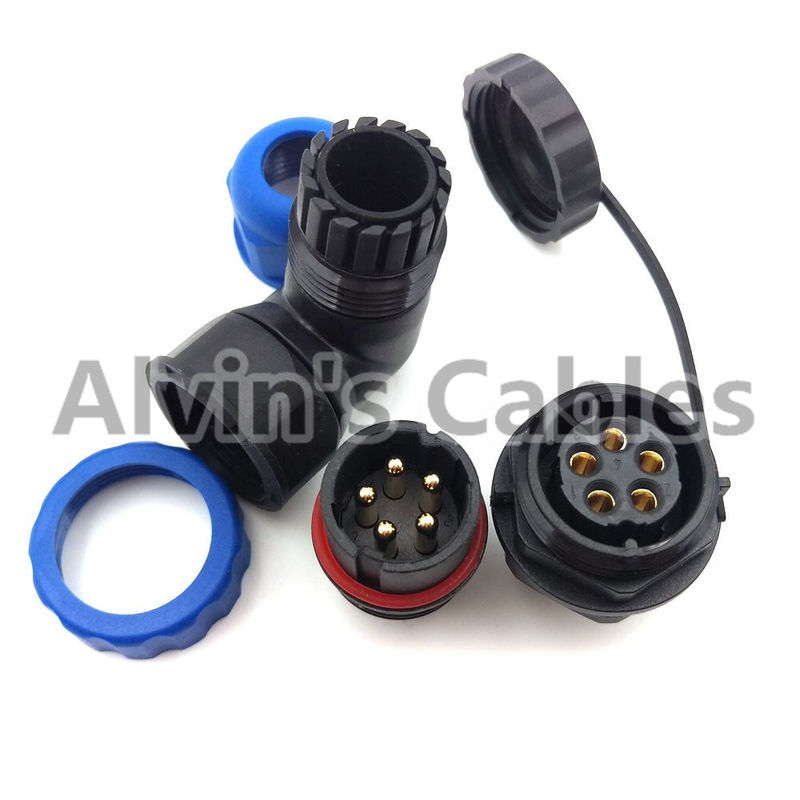 SD20TA-ZM ip67 5 pin elbow 90 degrees waterproof connector Industrial panel mount connector power cord plug and socket