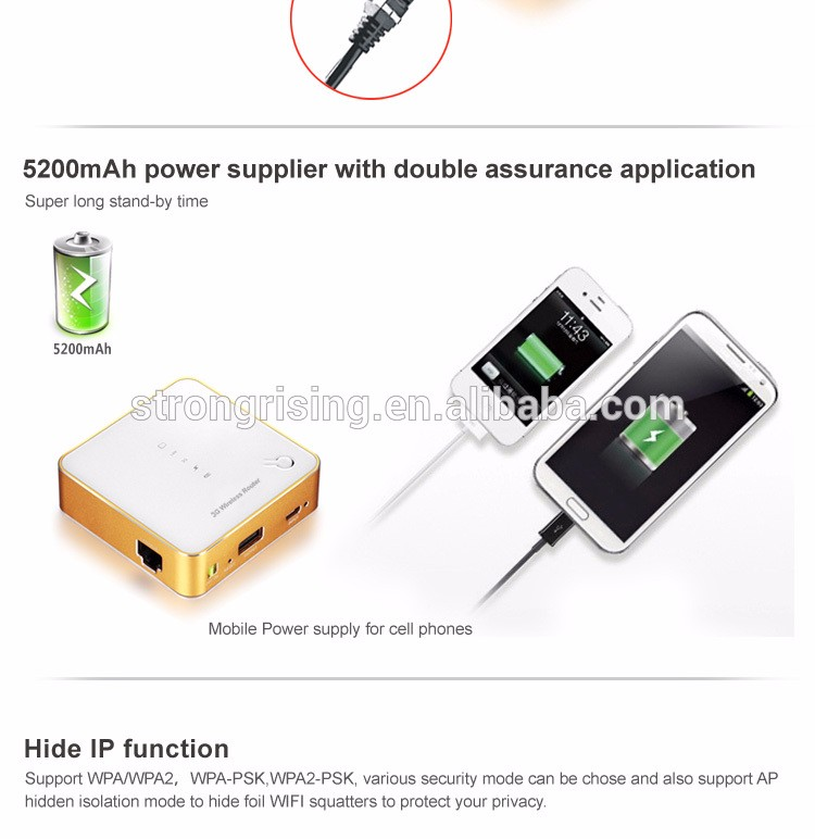 3g / 4g router 5000mAh power bank with 18 hours 3G working time