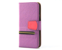 unique zip cross pattern purple mobile phone holster leather phone case