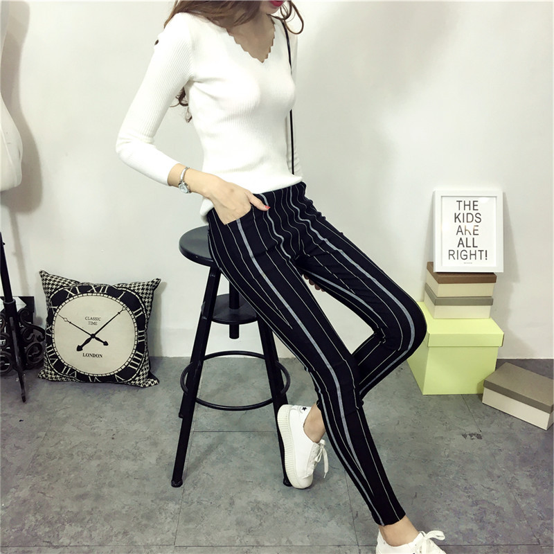 Black High Waist Vertical Stripe Slim Outwear Pencil Pants For Women B9608