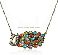 Fashion Jewelry Vintage Colorful Gem Peacock Women's Alloy Choker Necklace