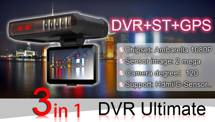 Security Guide DVR+GPS+ST Radar+G-Sensor anti speed radar detector