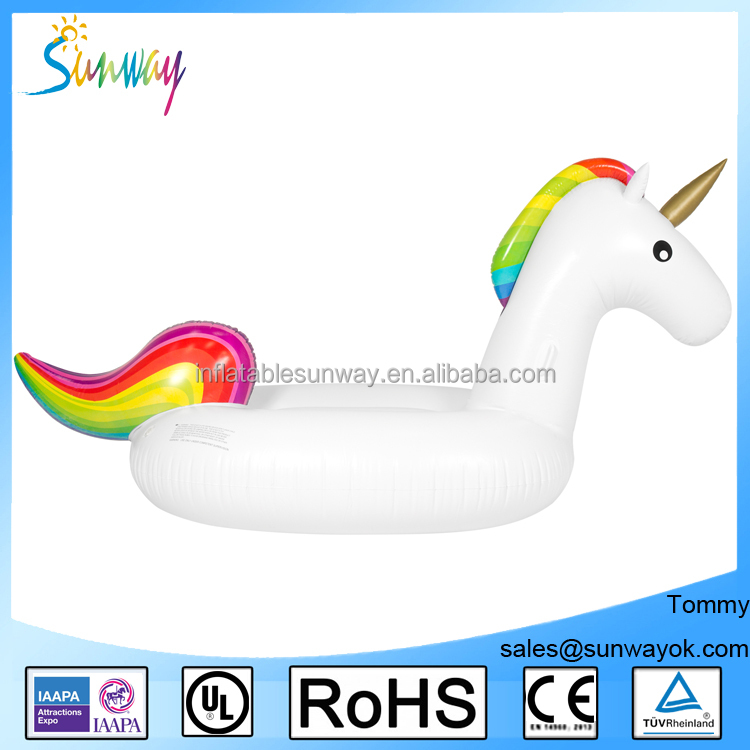 Customized new style Colors of the rainbow printed giant inflatable unicorn for decoration floating toy