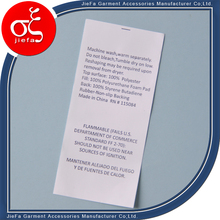 Factory Professional Custom Printing Care Label for Clothing Bag