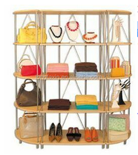 "Wooden Wall Display Shelving Set Maple Display Shelving Combo: 32""wide Wall Center Unit; 2 Corner Tower Units."