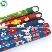 Different pattern color pvc coated wooden broom handle