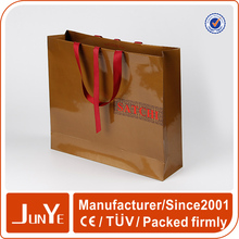 decorative t shirt packaging Uv paper bag with ribbon handles
