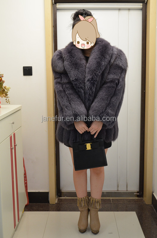 2015 Janefur New On Shop:Lady's Fashion Fox Fur Spot Coat/Noble/Scheduled Style