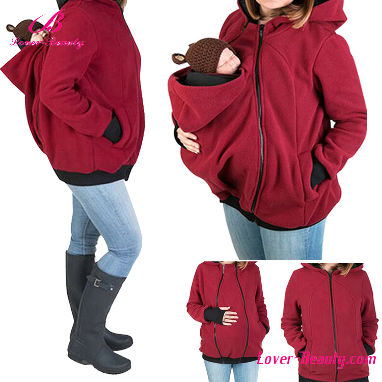 New design multifunction womens jacket pullover baby carrier hoodie