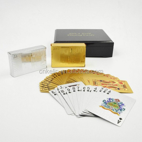 gold foil jumbo playing cards in gold or silver <strong>color</strong> with Euro 500 deisgn