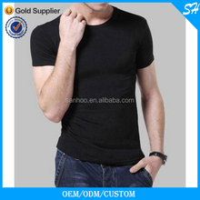 Wholeale New Design Mens Fashion Slim Fit Plain Black T Shirt O Neck