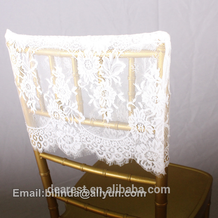 lace chair cap, Chiavari chair sash,black and white wedding chair decoration