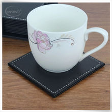 home decor faux leather large pink coasters with holder