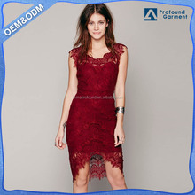 2016 fashion sexy red lace dress half sleeve slim fit women dresses