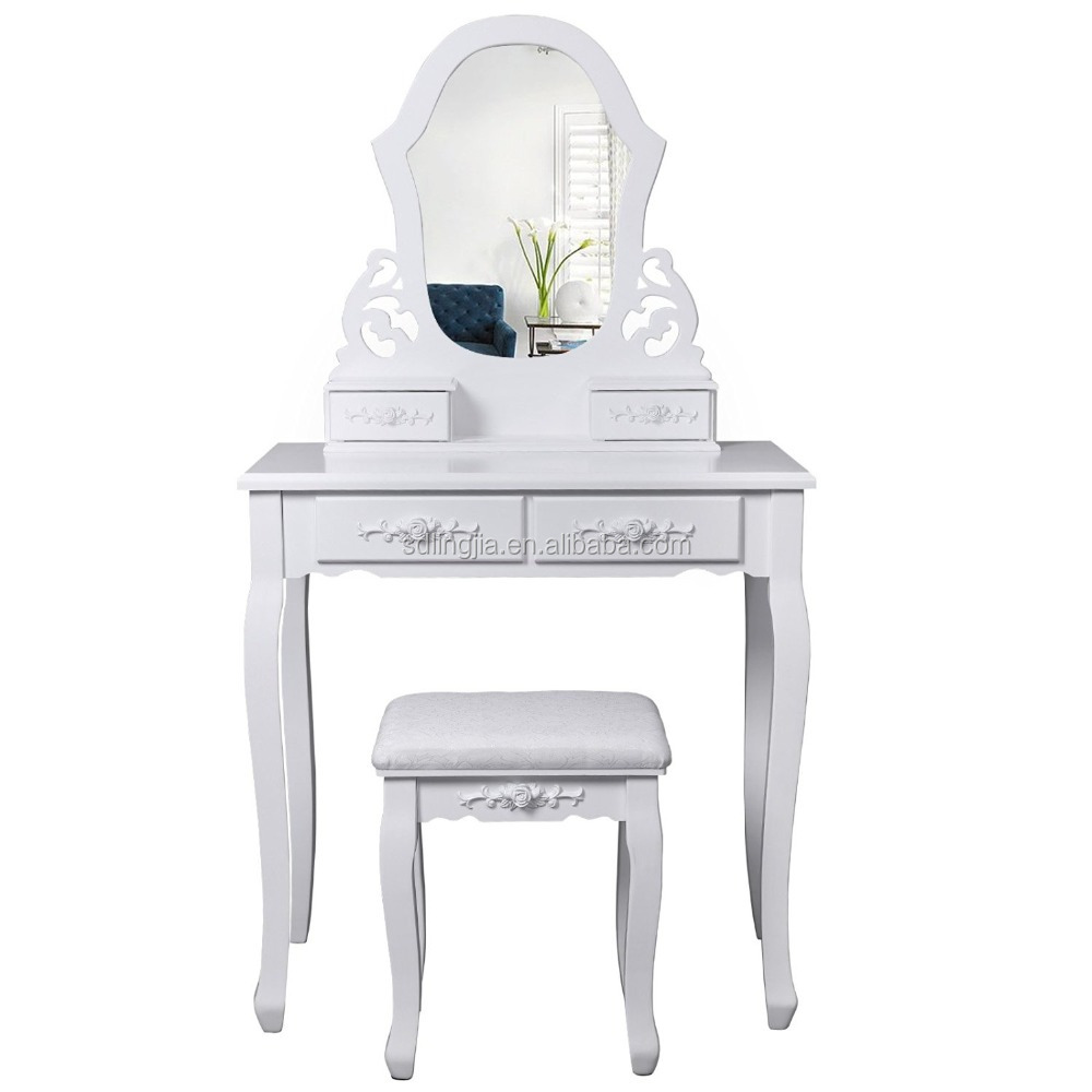 Hand Woven Dressing Wood Toilet Single White Make Up Table