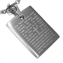 Stainless Steel Silver-Tone Cross Lord's Prayer in English Pendant Necklace