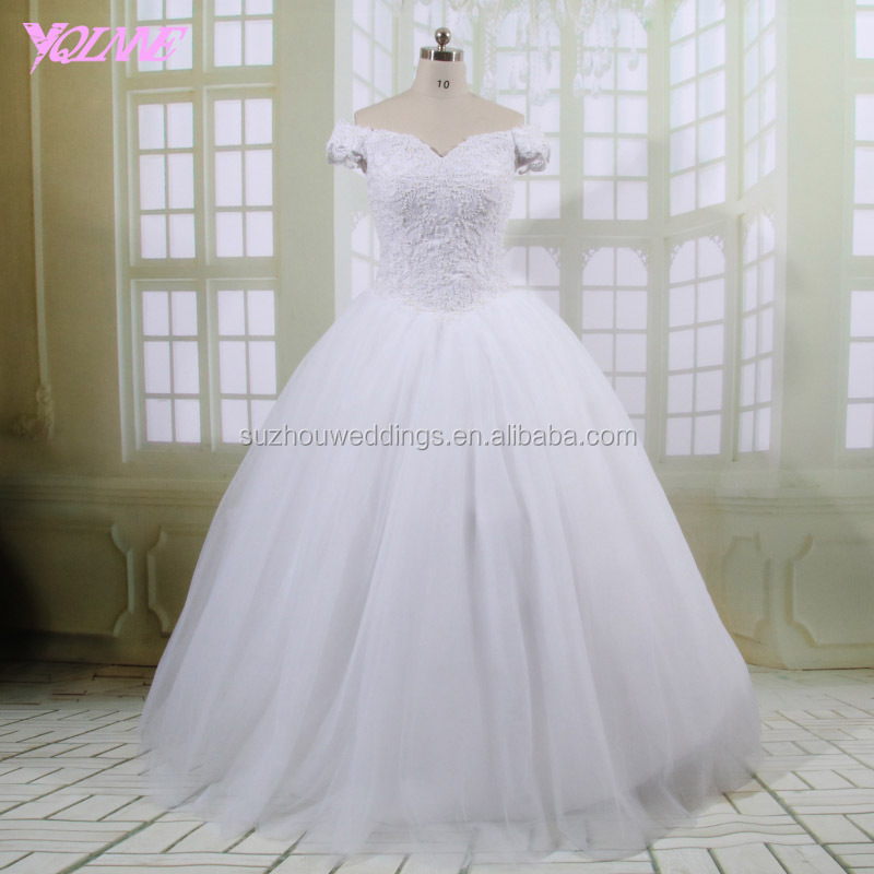 Yqlanbridal White Off the Shoulder Tulle Lace-up Ball Gown Bridal Gown Wedding Dresses China