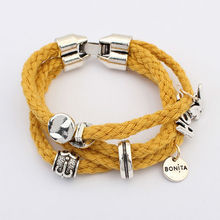 Neon yellow string hand jewelry korea 2014 friendship summer hot design nylon string bracelet PB1493