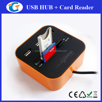 3-port USB 2.0 Hub+Multi Memory Card Reader All in one Combo for SD/TF/M2/MMC/MS