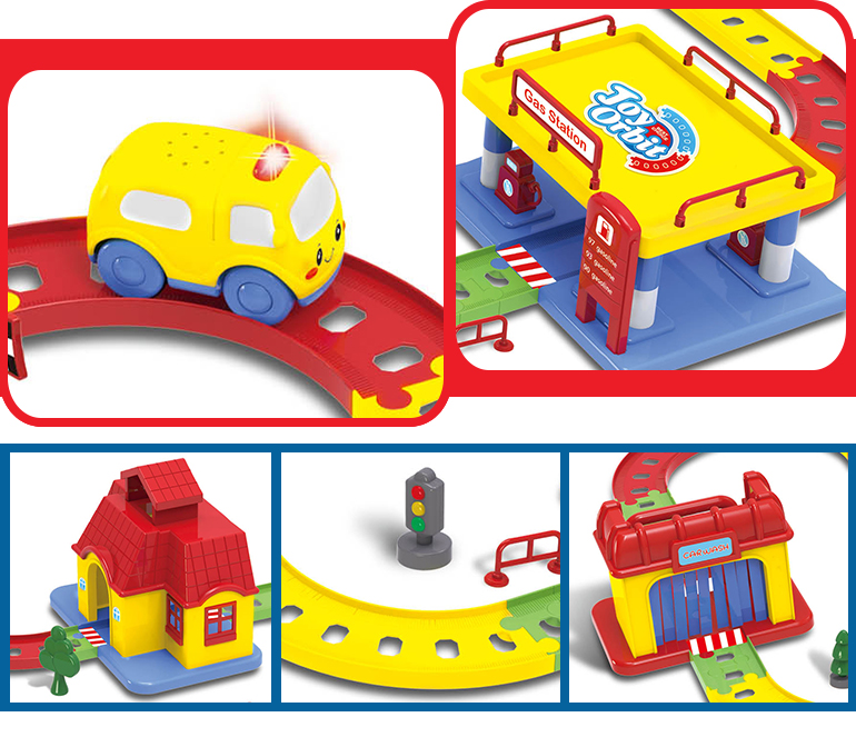 Colorful homes gas station car wash electric toy race track for kid