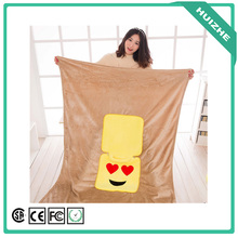 Factory wholesale travel 2 in 1 airline emoji pillow blanket, baby blanket manufacturers china
