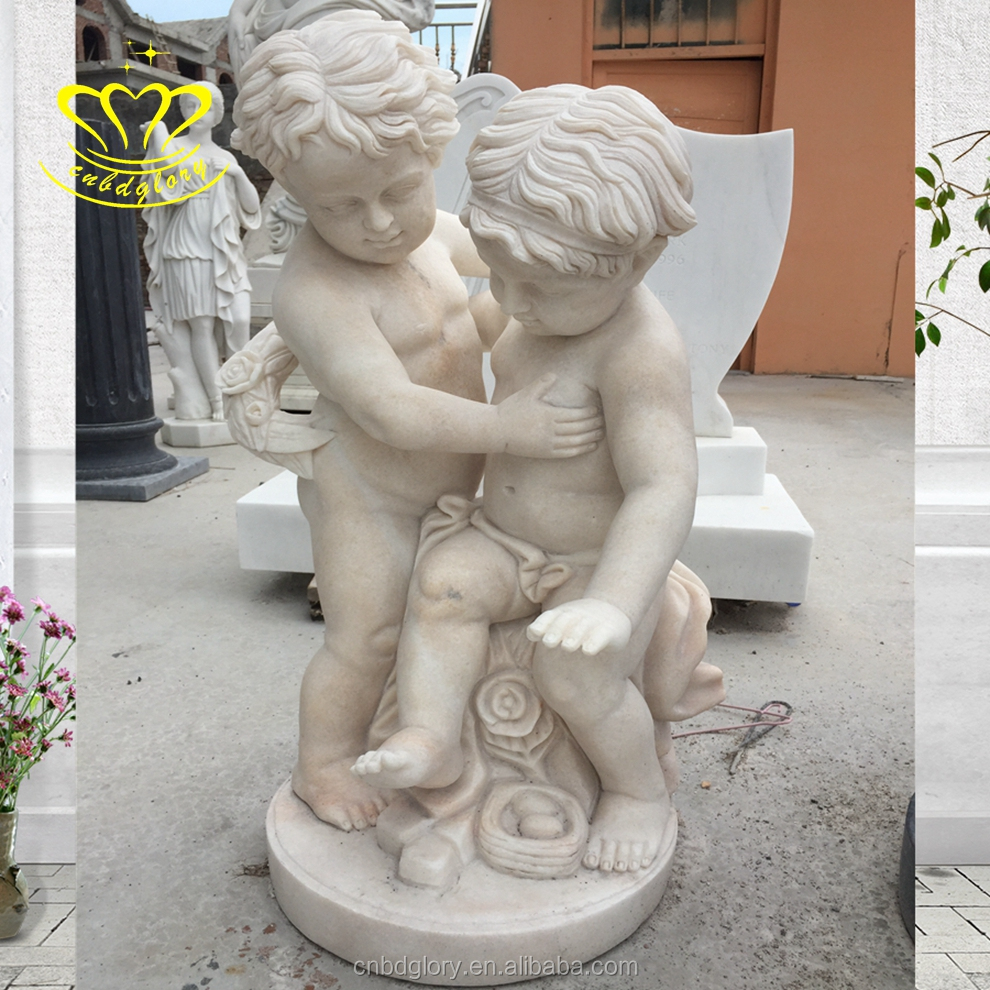 Hand carving Garden stone sculpture beautiful marble angel Boy Little Girl statues