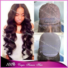 Best 6a quality 10-32inch #1b loose wave virgin european human hair silk base jewish wigs