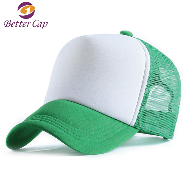 high standard green color 5 panel blank foam mesh trucker cap
